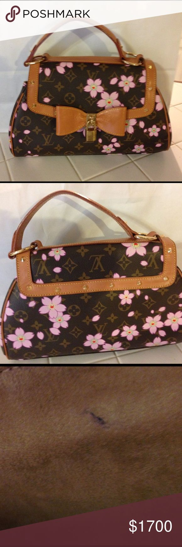Limited Edition Takashi Mukarami Cherry Blossom Rare Limited Edition Takashi Mukarami Retro Sac PM in cherry blossom. Great condition with just a couple of very slight pen marks inside. Outside looks brand new. Comes with dust bag, padlocks and keys. Date code CA0023. Louis Vuitton Bags Satchels
