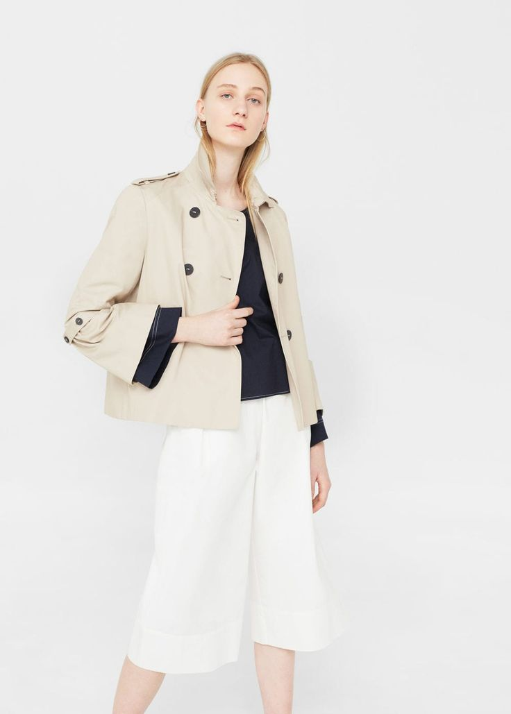 Trench court coton -  Femme | MANGO Canada