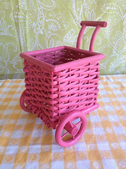 Pink Wicker Cart Basket - LovedItVintage
