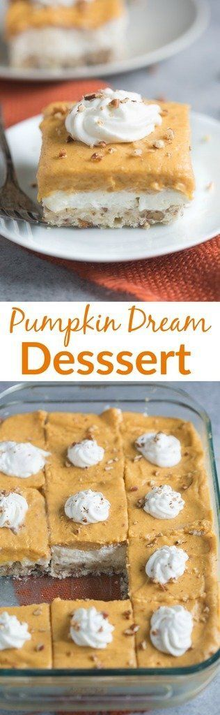 Pumpkin Dream Dessert is a layered pudding dessert with a soft shortbread crust, whipped sweet cream cheese layer and pumpkin pudding layer. We love this easy fall dessert. | Tastes Better From Scratch