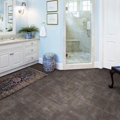 Fresh Vinyl Tile On Concrete Basement Floor