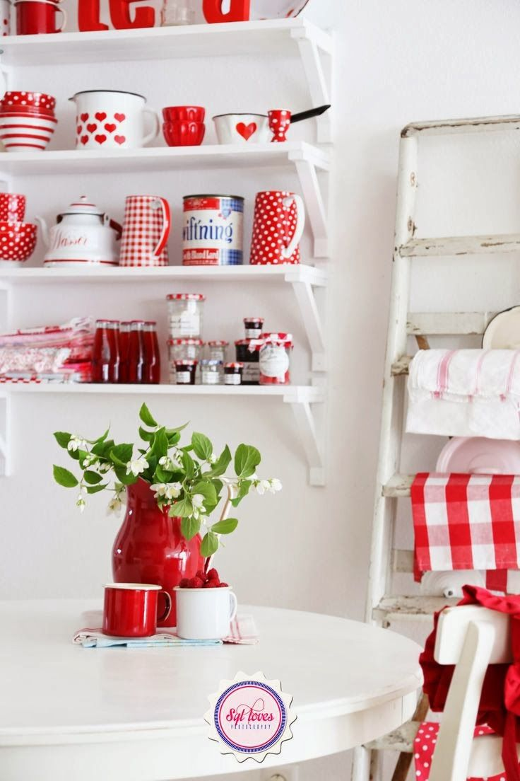 Red and white shelf decor and more