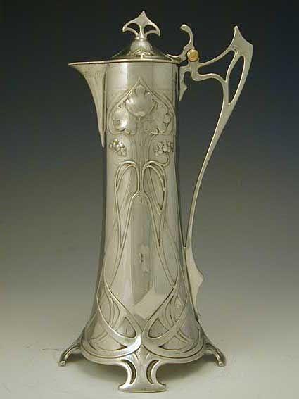 Art Nouveau jarra para el clarete de plata    Alemania c.1906