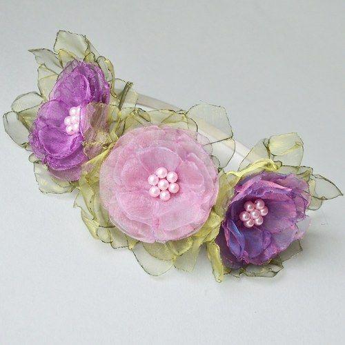 Čelenka - V odstinech růžovofialové 3 květy