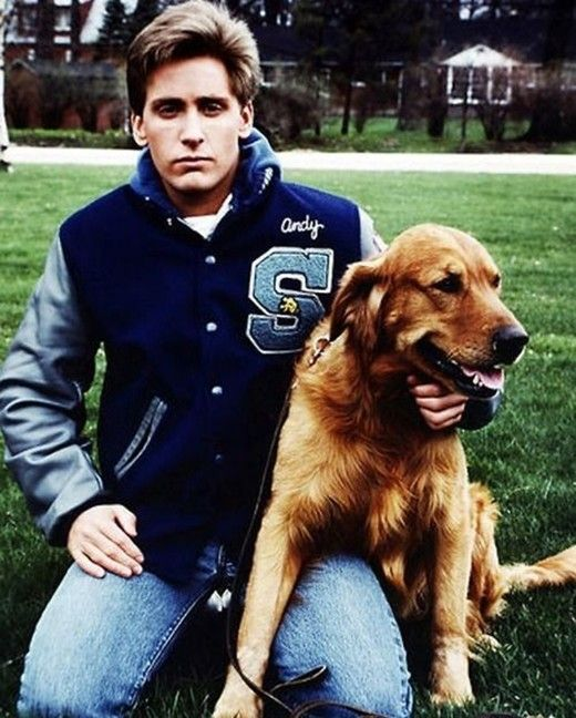 Emilio Estevez on the set of The Breakfast Club