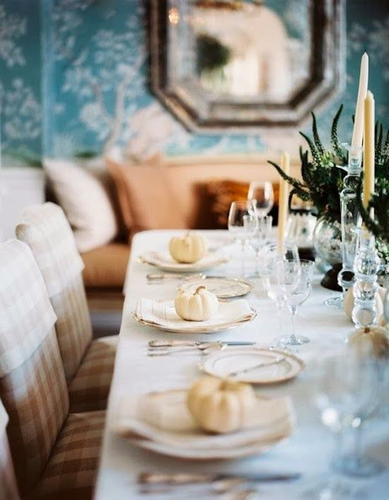 The Zhush: Ready, Set...so pretty with these little white (or any color) pumpkins on plate for Thanksgiving