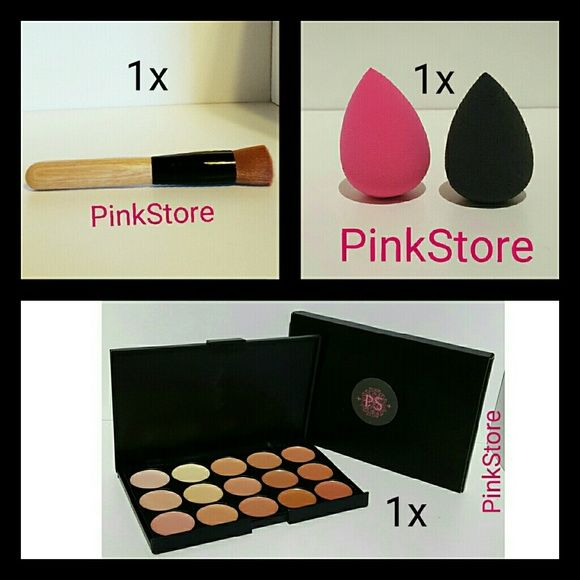 Contour Cream Palette Kit + Brush + Blender Nw ****Please Read Before Purchasing****    Great for Contouring and Foundation Makeup   Brand New   No Brand    1x Sponge  New 1x Contour Palette New 1x Wood Finish Brush Full Size New   Colors Available for Sponges  -Pink -Black  Send me your color before or after your purchase  your choice of sponge    Check my store for more products :)   I ship via USPS with tracking    Price is Firm**** Makeup