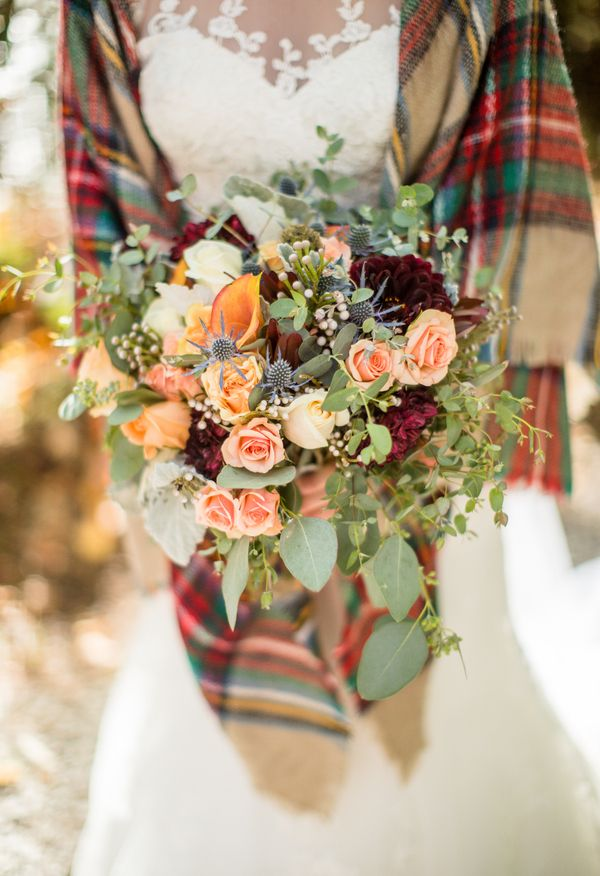 Plaid blanket scarf, white wedding gown, bouquet with peach, burgundy, and greenery = winter wedding magic // JoPhoto