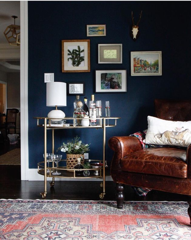 Park And Oak Design Navy Walls Leather Chair Vintage Rug Gallery Wall Inspiration Arrangements Styling Dark Living Rooms Blue Living Room Gold Room Decor