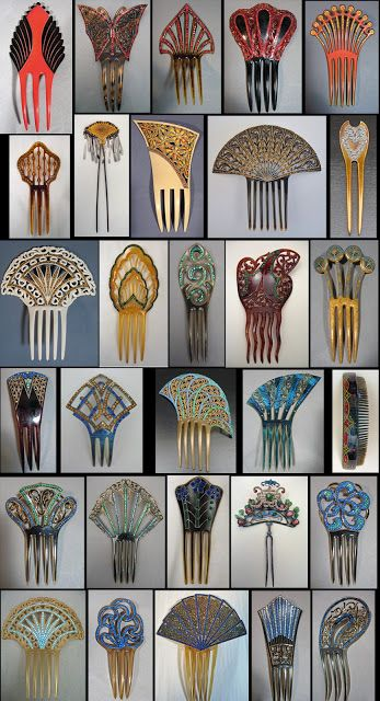 Victorian to Art Deco colored celluloid combs with stones, with one Japanese metal hair pin and one Chinese metal trembler hair pin with semi-precious stones and kingfisher feathers.