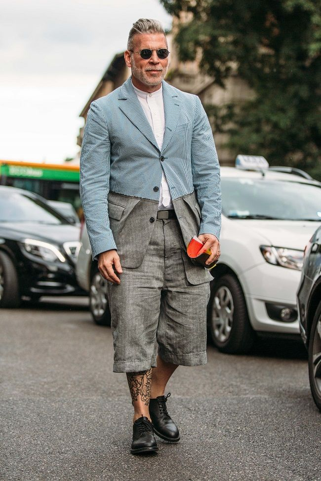 The dapper Nick Wooster during Milan Men's Fashion Week 2016 wearing shorts and a blazer, making up a smart summer outfit.