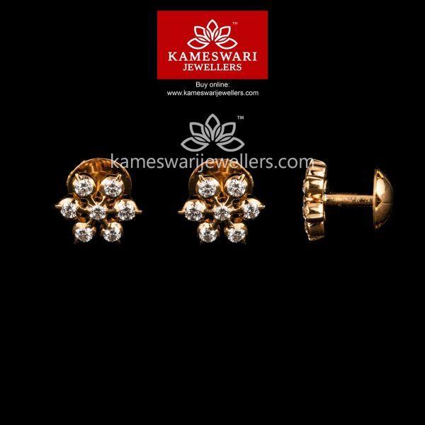 7 Stone Diamond Studs In 2019 Gold Earrings