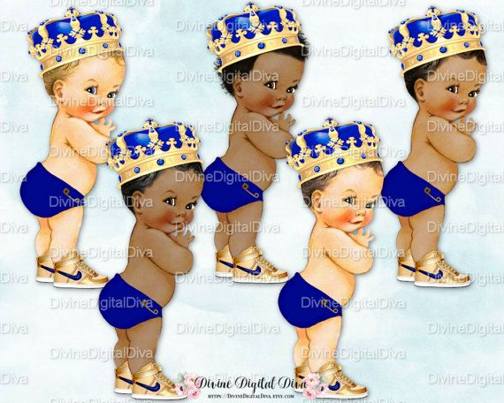 Little Prince Caribbean Turquoise Blue Gold Ornate Crown Baby Boy 3 Skin Tones Clipart Instant Download