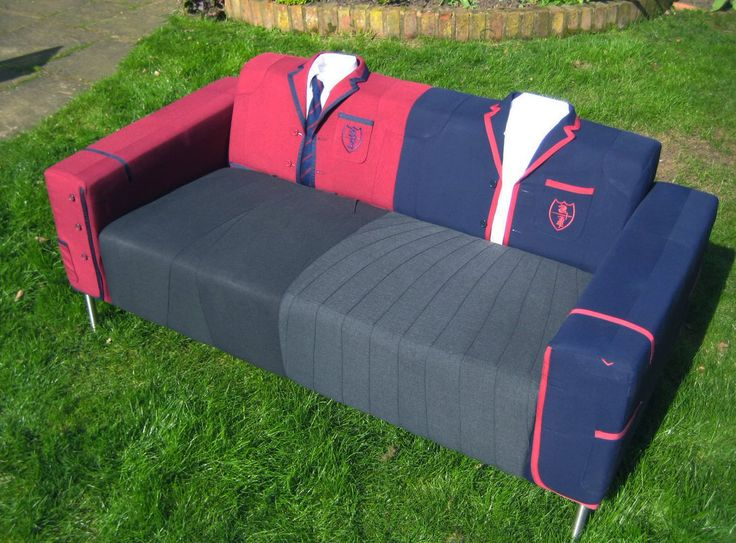 Upcycled Sofas | School Uniform Sofa | Reupholstered Sofa | Created by Upcycled Hour Business Club member Elizabeth Knowles (@EandJandJCH) | www.upcycledhour.co.uk