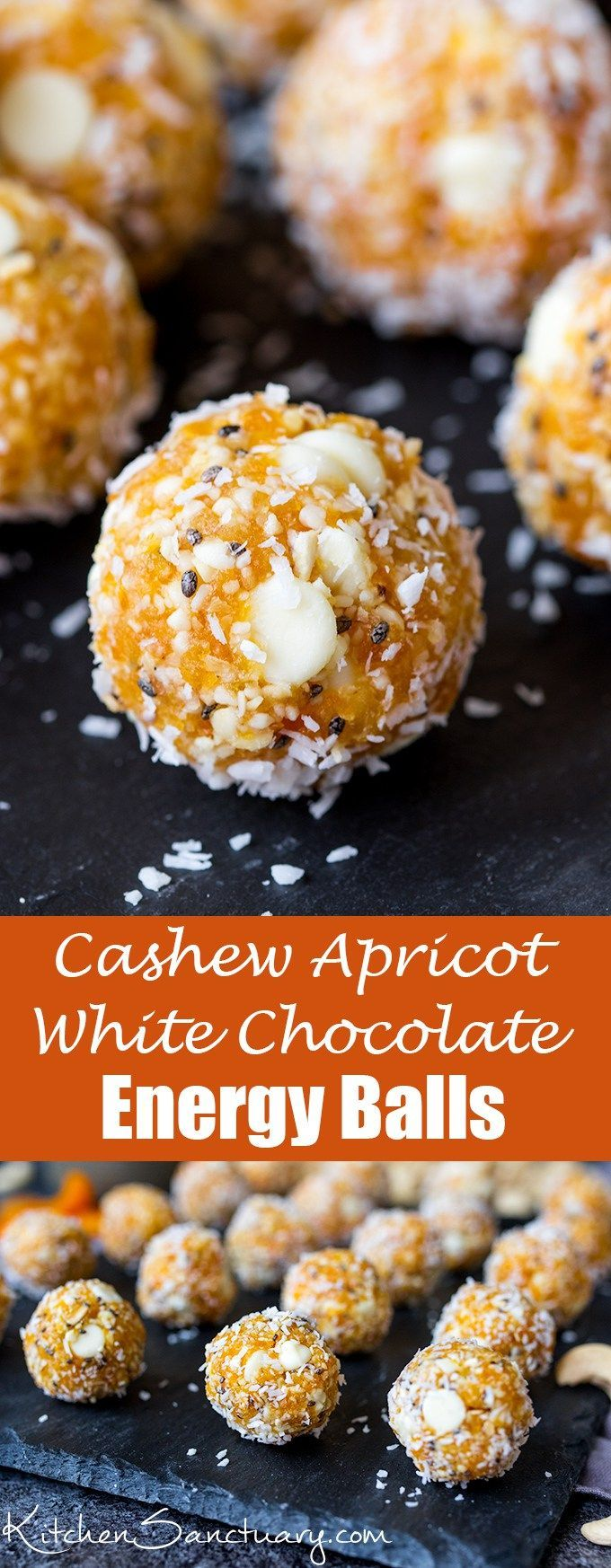 Cashew Apricot White Chocolate Energy Balls - A healthier way to combat that afternoon energy dip!  #energyballs #energybites #apricot #glutenfreesnack #snacktime