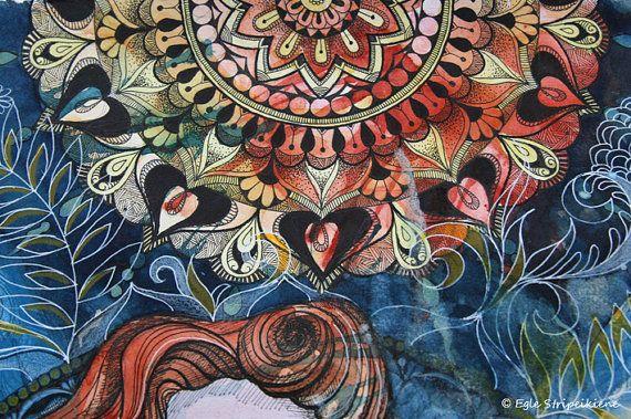 Boho Muse, Mixed Media Illustration Giclée Print, watercolor, ink, illustration, bohemian, folk, nature, botanical, organic, art print, home decor, women, portrait, mandala by Egle Stripeikiene