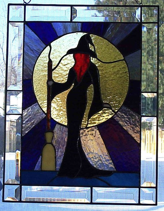 Stained Glass Sexy Witch Panel by CLStainedGlassStudio on Etsy, $120.00