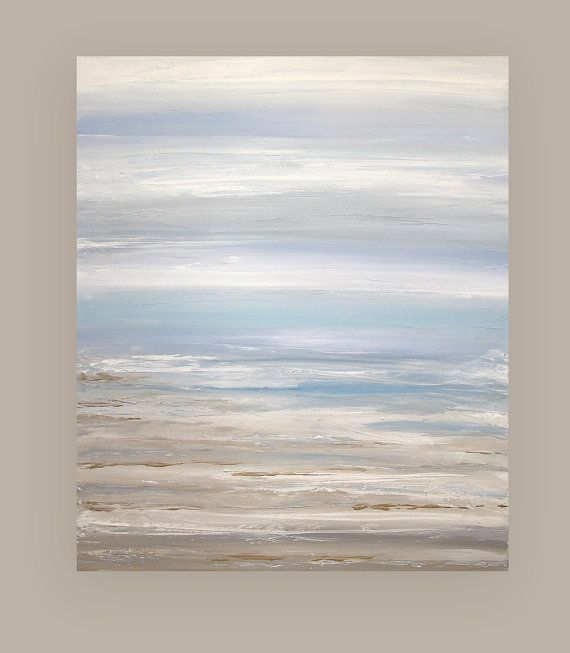 Art Abstract Painting Canvas Acrylic Beach by OraBirenbaumArt