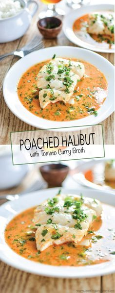 Poached Halibut in Tomato Curry Broth is a simple weeknight dinner recipe that the entire family can enjoy! #WildAlaskaSeafood #CleverGirls | www.cookingandbeer.com