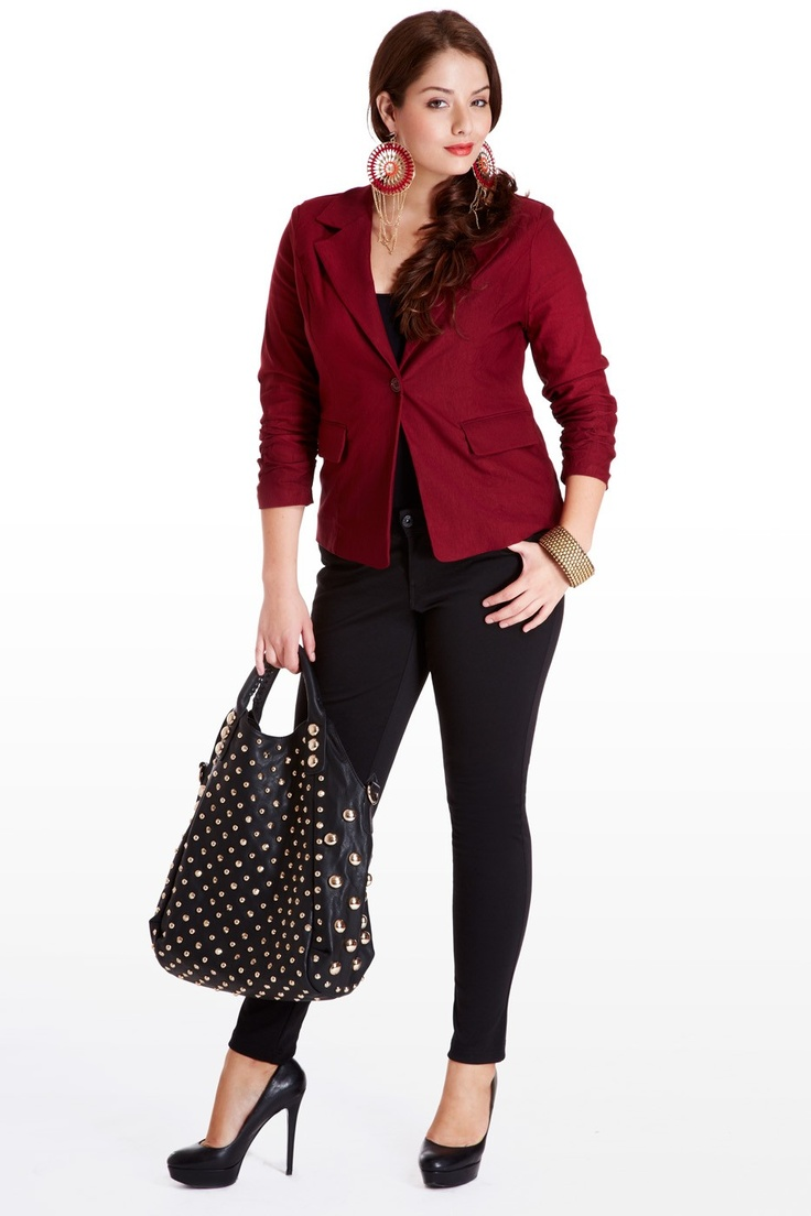 I like plus-size jackets because my chest requires lots of breathing room :( but this is CUTE. I'm kind of annoyed I'm a size too small for the dresses. ruched 3/4 sleeves,one-button front, notched lapel, vest adjuster buckle in back, and front pockets. Great for the office with dark pants, heels and a studded tote.