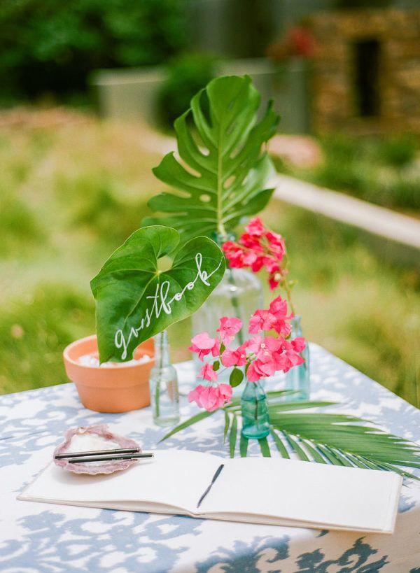 Tropical Leaves Wedding Signage