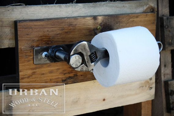 Industrial Wrench Toilet Paper Holder by urbanwoodandsteel on Etsy