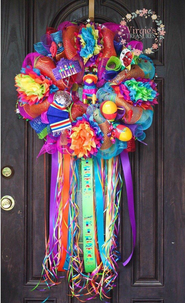 A personal favorite from my Etsy shop https://www.etsy.com/listing/221567537/viva-fiesta-deco-mesh-wreath-fiesta-san