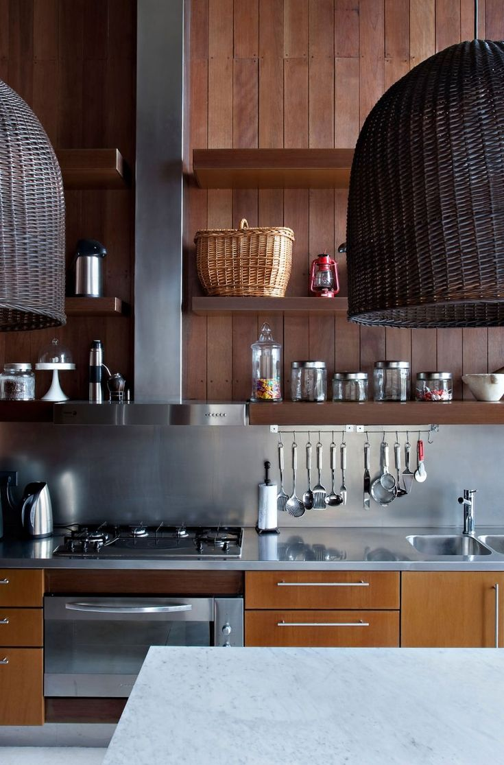 木とステンレスと籐 #キッチン                                                                                                                                                      もっと見る