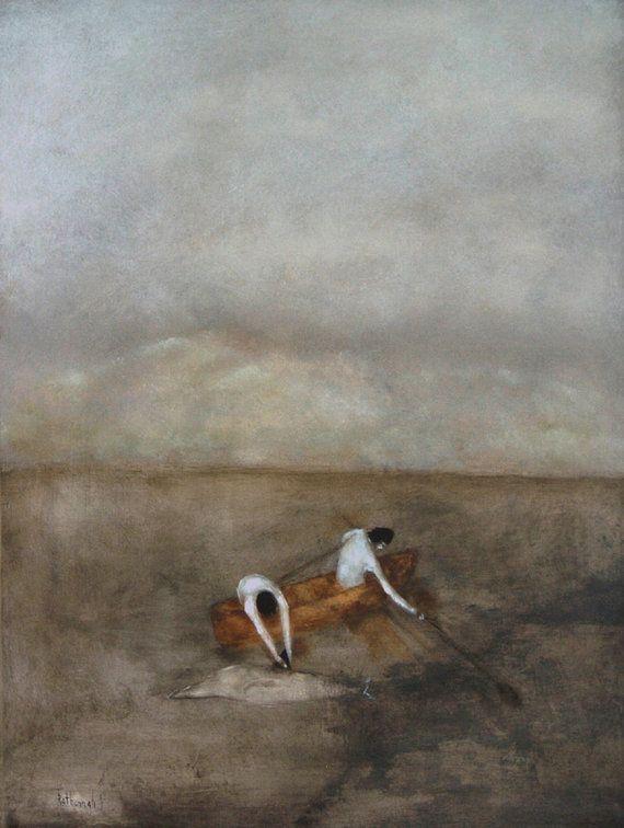 "Giclee print of my original oil painting man men art brown gray landscape art print  ""Nantucket"""