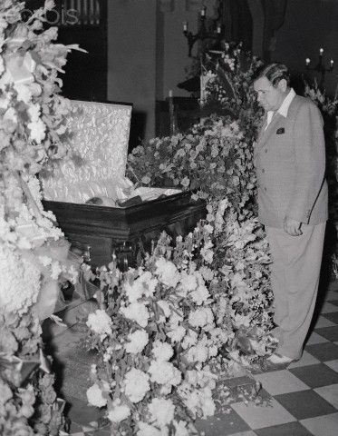 Babe Ruth Standing by Casket with Body of Lou Gehrig - June 3, 1941