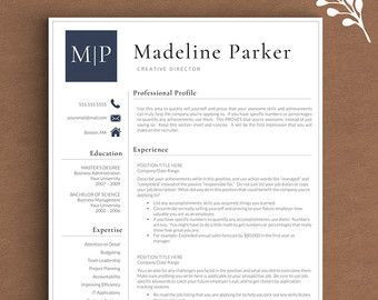 Professional Resume Template for Word & by LandedDesignStudio