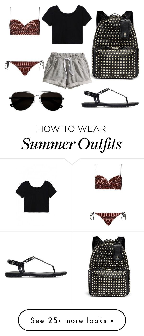 """Summer Outfit #79"" by fashionbymgda on Polyvore featuring Valentino, Tod's, H&M, Topshop and Calvin Klein"