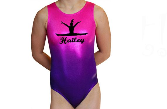 Gymnastics Leotards Girls Personalized OMBRE Pink Purple Leotard Gymnast Dance leotard Mystique Gymnastics or Dance Leotard Bodysuit. Matching hair scrunchie included. Gorgeous Ombre Pink - Purple leotard. Please write the name you want personalized on this leotard in the notes