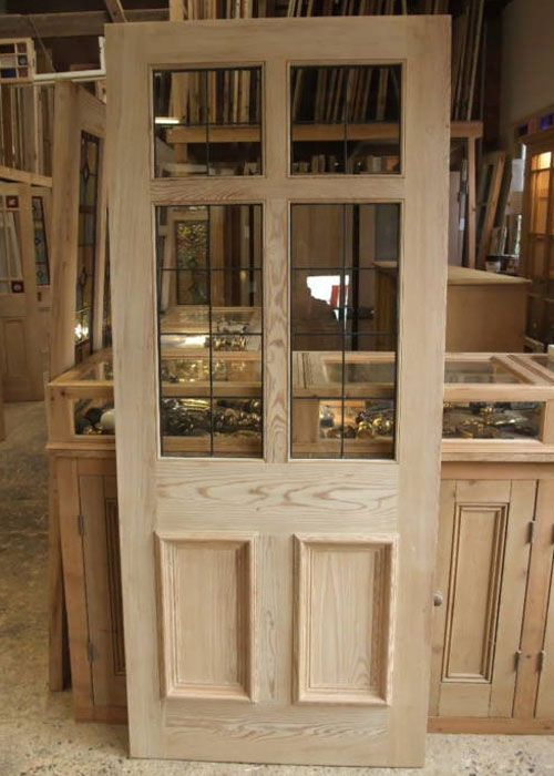 Front+Doors+With+Glass | Pitch Pine Stained Glass Front Door six panel georgian style with ...