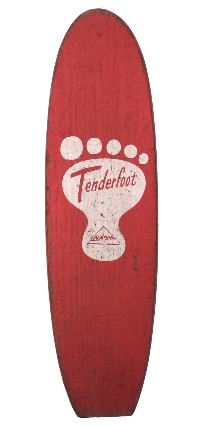 """Original vintage Tenderfoot skateboard circa 1950's. Wood with metal wheels. Measures 20"""" long."""