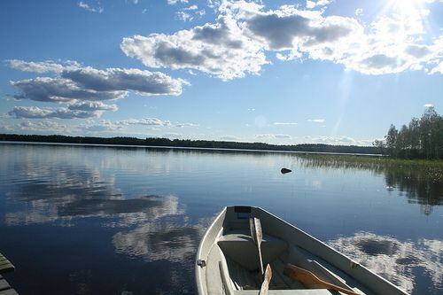 Finland. Long summer nights, blue lakes, boats.