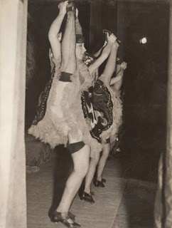Chorus girls doing the can-can in the  Montague Show. Australia. 1930s.