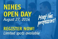Banner voor NIHES Open Day 2014.
