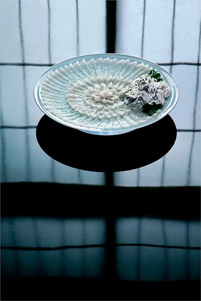 Japanese fugu (blowfish) sashimi