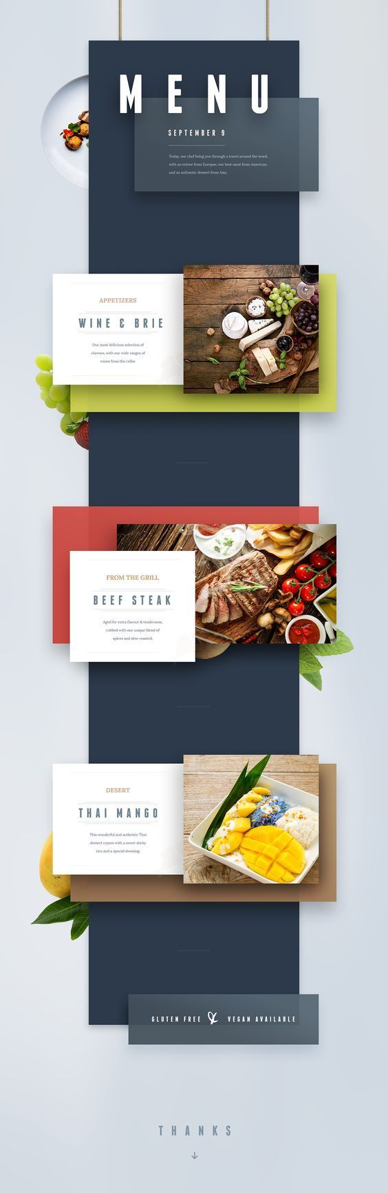 restaurant menu online inspiration #web #design. If you like UX, design, or design thinking, check out theuxblog.com