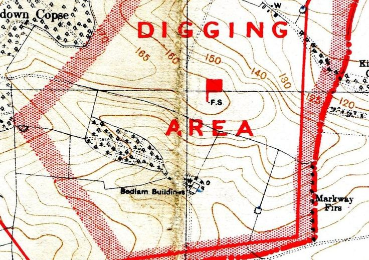 1:25,000 map dated 1931 - Perham Down showing Bedlam
