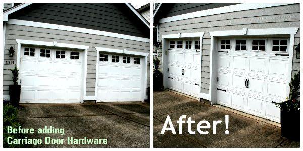 carriage door hardware for a cheap garage door upgrade #LowesCreator