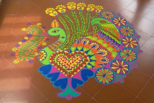 Peacock Rangoli Kolam for Diwali