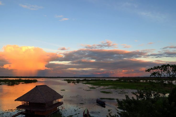 Watching the sunset along the boardwalk in Iquitos, Peru.