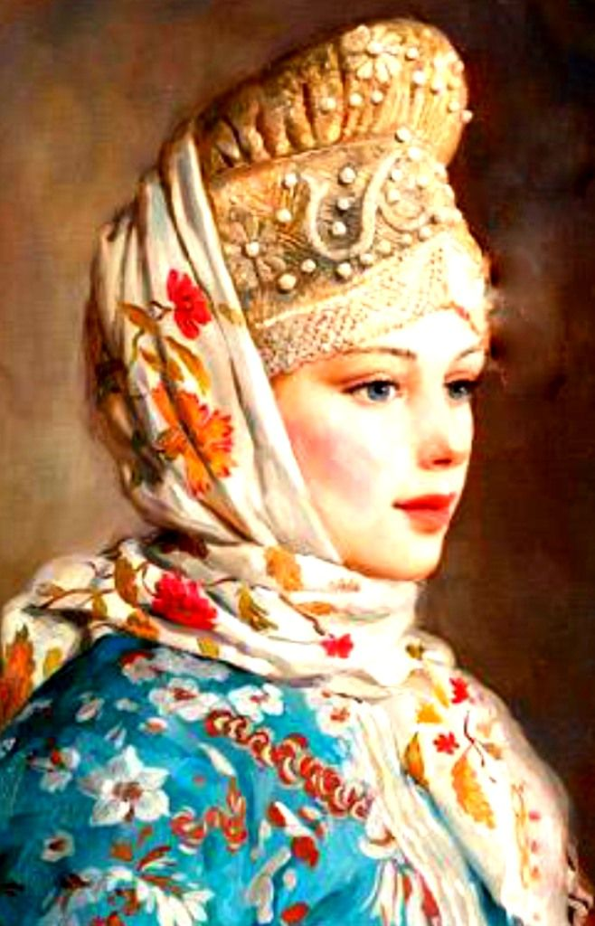 """Girl in Russian Traditional Costume"" by Vladislav Nagornov, a contemporary Russian artist."