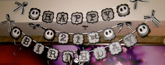 Happy Birthday Nightmare Before Christmas | Birthday Banners Jack Nightmare Before by GrandmasCutesyCrafts
