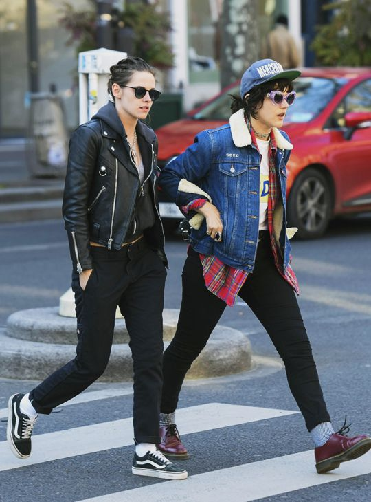 Kristen Stuart killing the rocker look in a leather jacket and some Old-Skools.