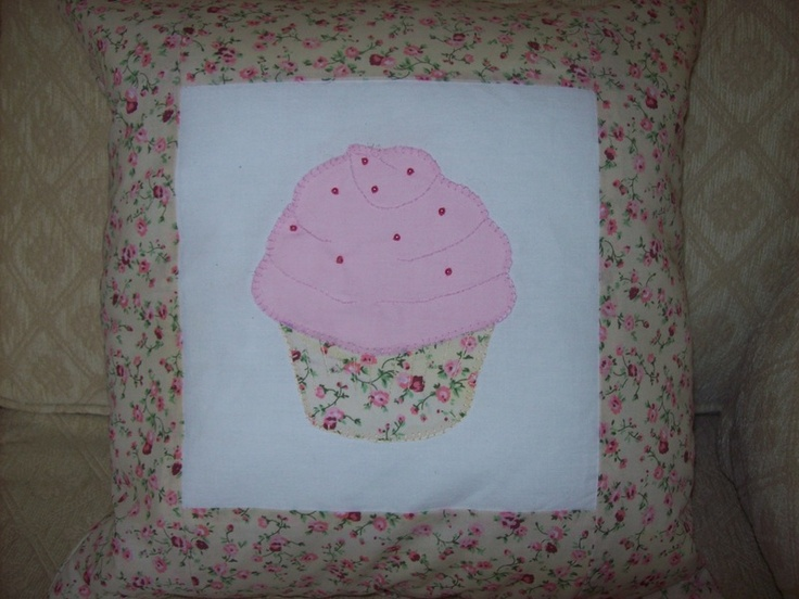 Pretty cupcake applique cushion, with little beads.  Please take a look at the items I sell @ www.lemayed-for-you.webs.com, thanks.