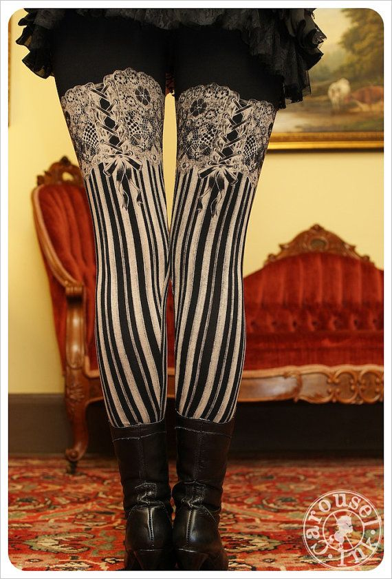 Burlesque Leggings  Womens Legging  BLACK  Garter by Carouselink, $32.00