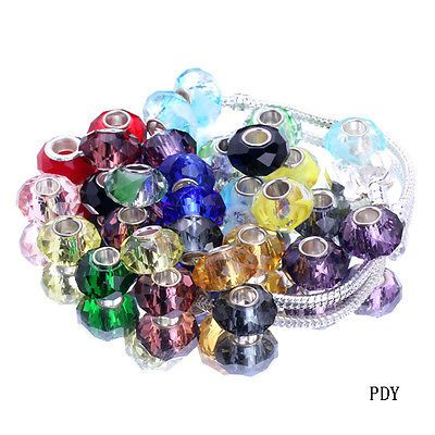 Wholesale Murano Glass Faceted Big Hole Loose Beads Fit European Charms Bracelet